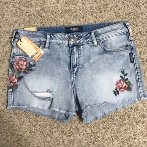 Silver Floral Embroidered Denim Shorts